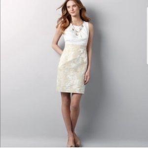 Lela Rose for LOFT Metallic Sheath Jacquard dress